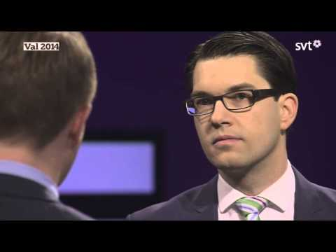 sd - Jimmie Åkesson (SD) i en debatt mot Gustav Fridolin (MP) i Agenda. Den 16 mars 2014. Swedensfuture.