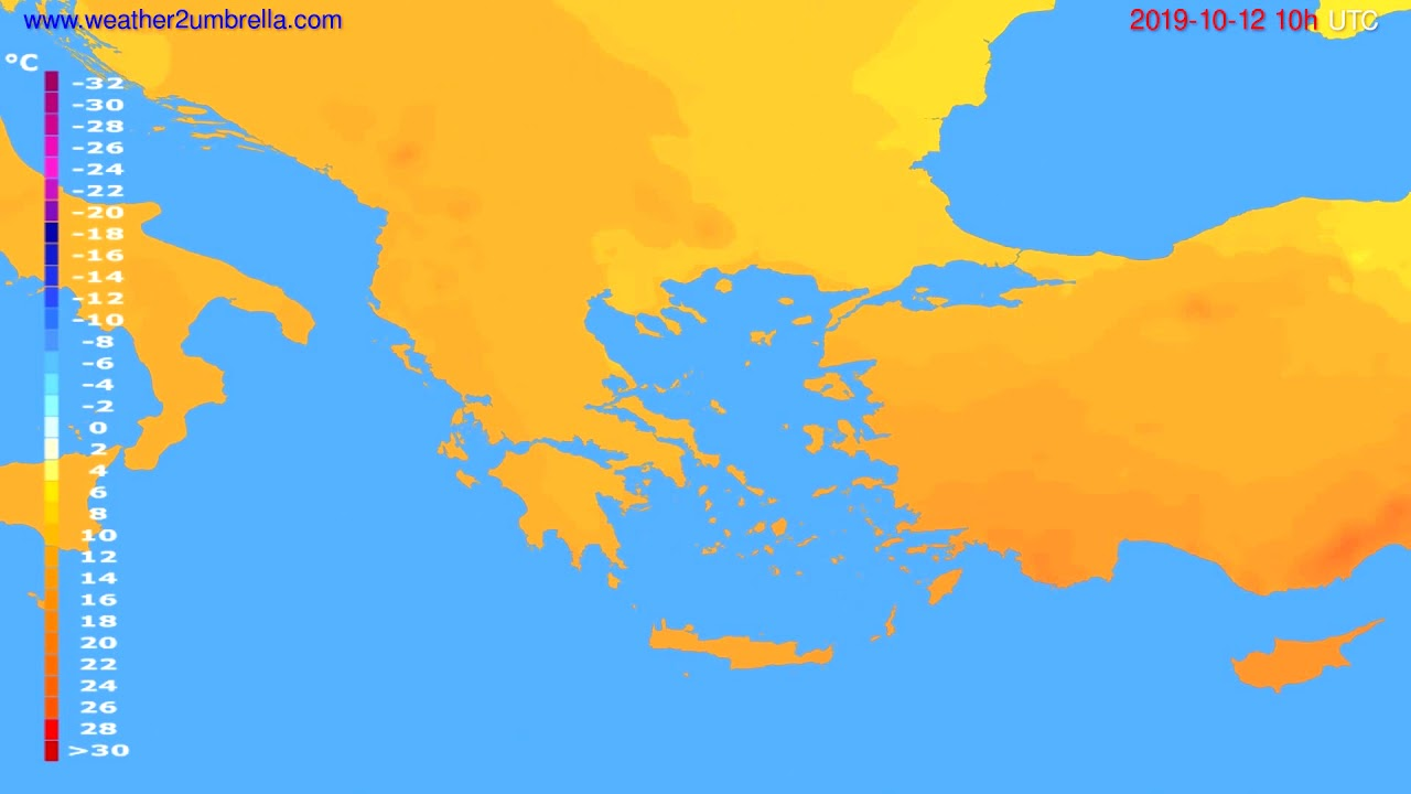 Temperature forecast Greece // modelrun: 12h UTC 2019-10-09