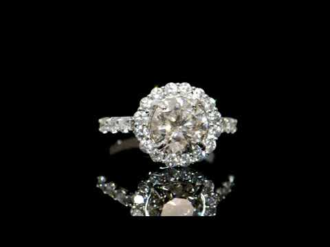 Lady's 18k White Gold 2.03ct Round Brilliant Cut Diamond Ring