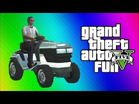 GTA 5 Online Funny Moments Gameplay - Lawn Mower Squad, Security Cameras, Cutters, Burger Stand