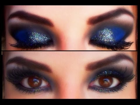 Azul profundo para noche / Glitter black and silver on deep blue eyemakeup