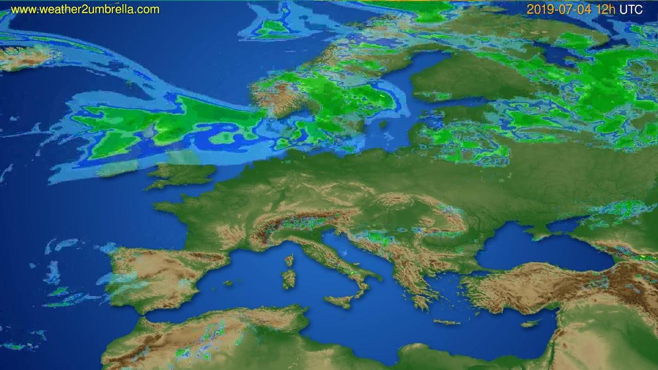 Radar forecast Europe // modelrun: 00h UTC 2019-07-04