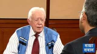 President Jimmy Carter talks to Sajha Sawal