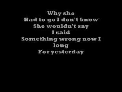 Yesterday By the Beatles with lyrics