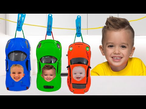 Vlad and Niki paint Toy Cars and have fun in the Car museum