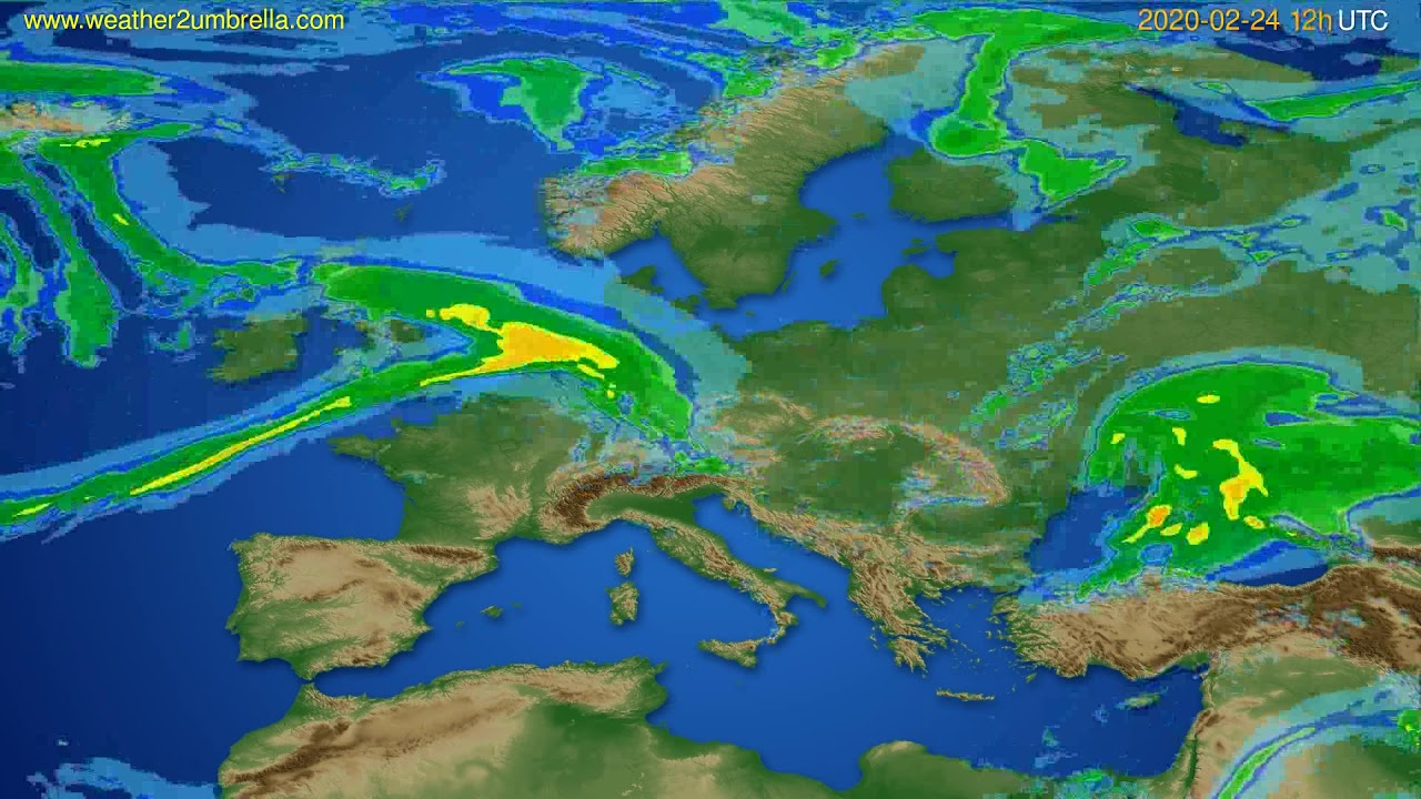 Radar forecast Europe // modelrun: 00h UTC 2020-02-24
