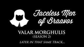 The Faceless Men of Braavos theme that often plays in the soundtrack when they're on screen, or when a plot-point involving them is taking place.Check out the playlist for more themes, including an awesome hour-long compilation of all of them! Just press play, sit back & enjoy.Music composed by: Ramin DjawadiFont: Wisdom Script by James T. Edmondson