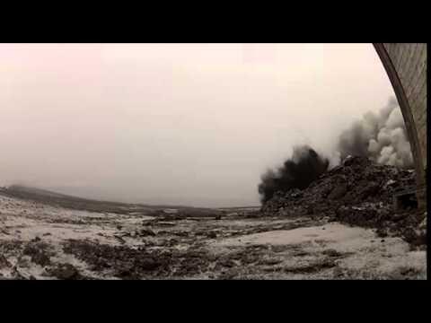 Den första malmsprängningen i Tapuli gruvan 18 okt 2012