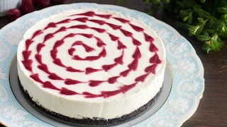 No-Bake White Chocolate Raspberry Cheesecake Recipe by Home Cooking Adventure