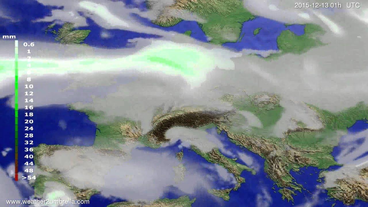 Precipitation forecast Europe 2015-12-10