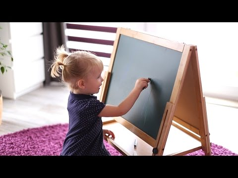 Kinder-Tafel aus Bambus - magnetisch und höhenverstellbar