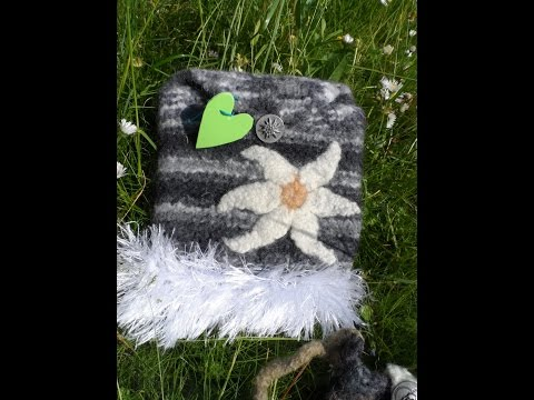 Neue Ideen:Edelweiß häckeln ,einen Schriftzug aufbringen, stricken und filzen, verfilzen