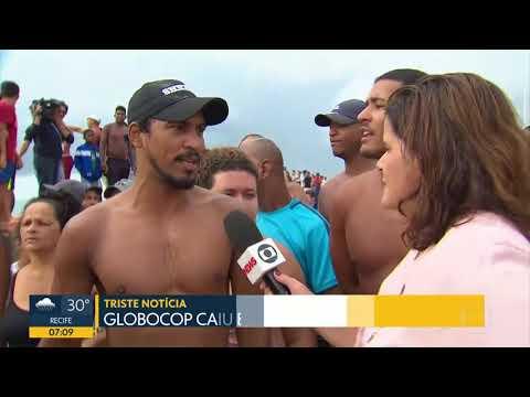 Globocop cai na Praia do Pina em Recife - Bom Dia Pernambuco - 23/01/18