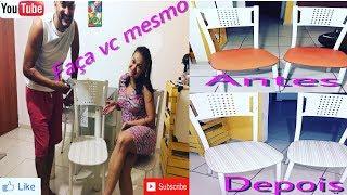 Reformamos o assento das cadeiras da salaaaa 🙌🏻👏🏻... Valores dos Materiais: 1metro de Napa : 17,00 Grampeador : 40,00 ( ou vc empresta de algum amigo 😉) ----...
