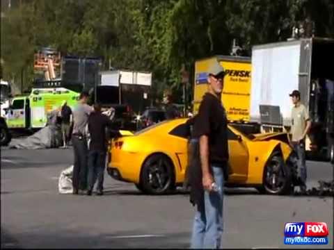 Bumblebee Camaro Crash at Transformer 3 Filming in DC