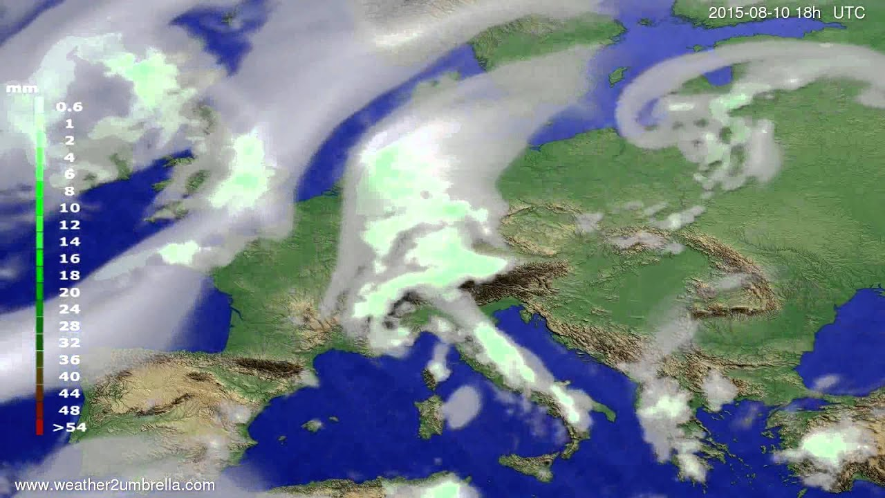 Precipitation forecast Europe 2015-08-07