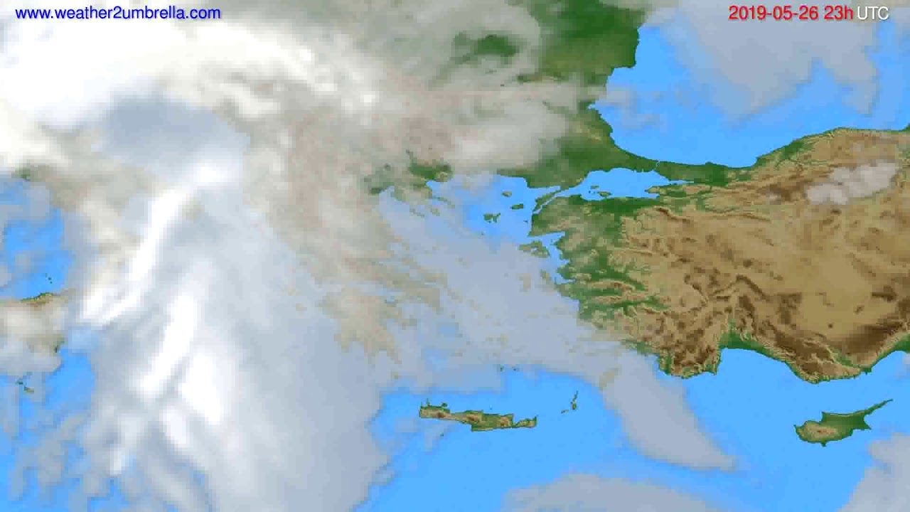 Cloud forecast Greece // modelrun: 12h UTC 2019-05-23