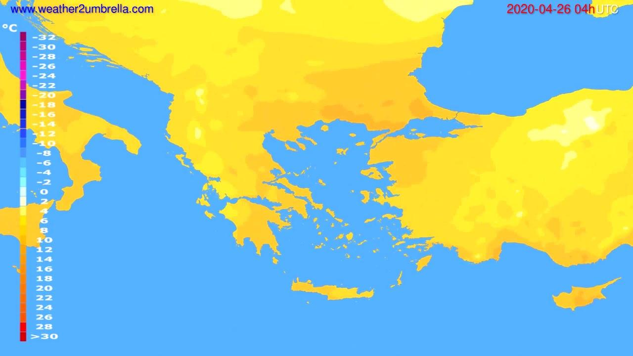 Temperature forecast Greece // modelrun: 12h UTC 2020-04-25