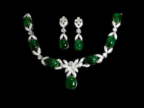 18k White Gold 93.79ct (TW) Colombian Emerald and 14.15ct (TDW) Diamond Necklace and Earrings Set
