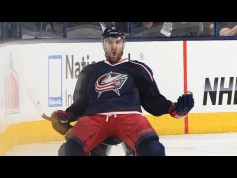 winner - Columbus Blue Jackets forward Nick Foligno rips a distant shot past Pittsburgh Penguins goalie Marc-Andre Fleury to win the game in overtime for the Jackets.