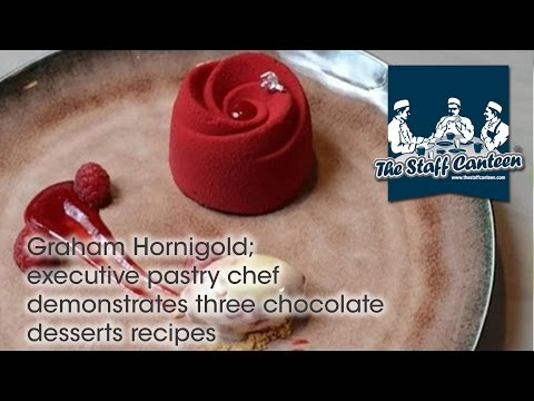 Graham Hornigold; executive pastry chef  demonstrates three chocolate desserts recipes