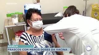 Marília: Secretaria de Saúde aponta menos doses  nos frascos da vacina