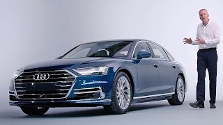 """New 2018 Audi A8 highlightsThe presenter Martin Haven shows us his four personal highlights of the upcoming Audi A8. The vehicle has developed further in all areas. The design catches the user's eye. But also under the """"sheet"""", an intelligent mix of different materials, there are advanced innovations in technology.If you love cars you should subscribe now to YouCar the world famous automotive channel: https://goo.gl/5i54Vg"""