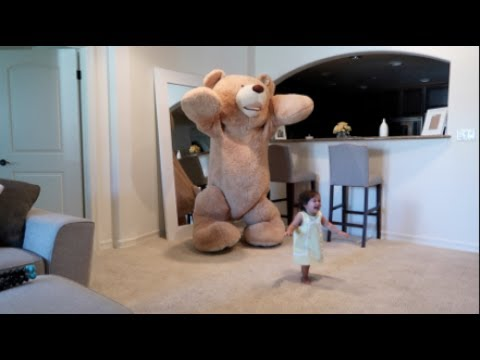Daddy Pranks Baby With Huge Teddy Bear!!!
