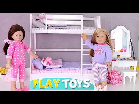 Play AG Doll Bunk Bed Room and Bathroom Toys! 🎀