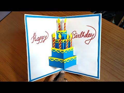 Birthday greetings - Beautiful Birthday Greeting Card Idea  DIY Birthday pop-up card DIY GREETING cards for birthday