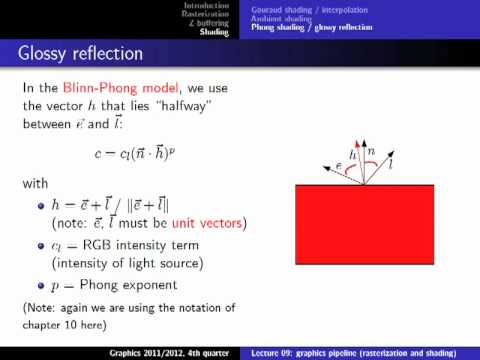 Computer Graphics 2012, Lect. 9(2) - Rasterization & Shading
