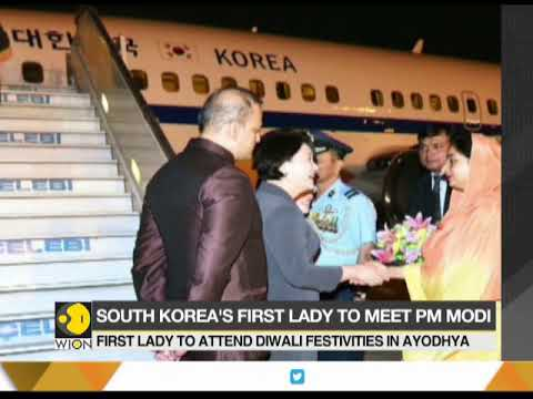 South Korea's first lady Kim Jung Sook visits Ayodhya in India; Plans to meet PM Modi on Monday