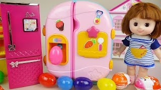 Baby Doll refrigerator and Surprise eggs Kinder Joy toys