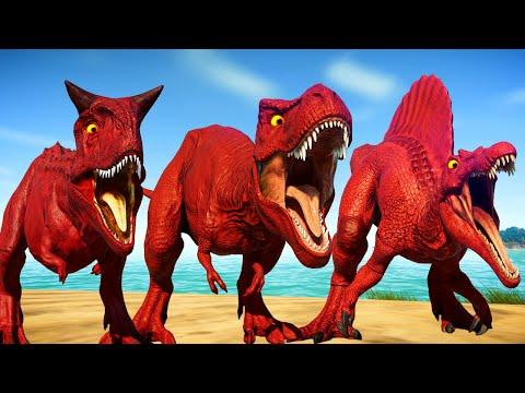 Red Big Dinosaurs Fighting in Jurassic World Evolution - T-Rex vs Spinosaurus vs Carnotaurus
