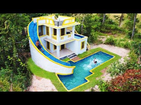 Building The Most Creative Modern Water slide To Underground Swimming Pool