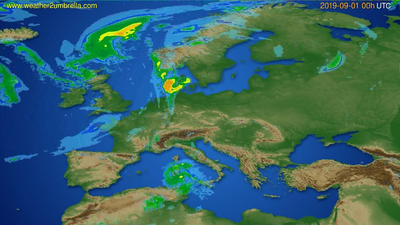 Radar forecast Europe // modelrun: 12h UTC 2019-08-31