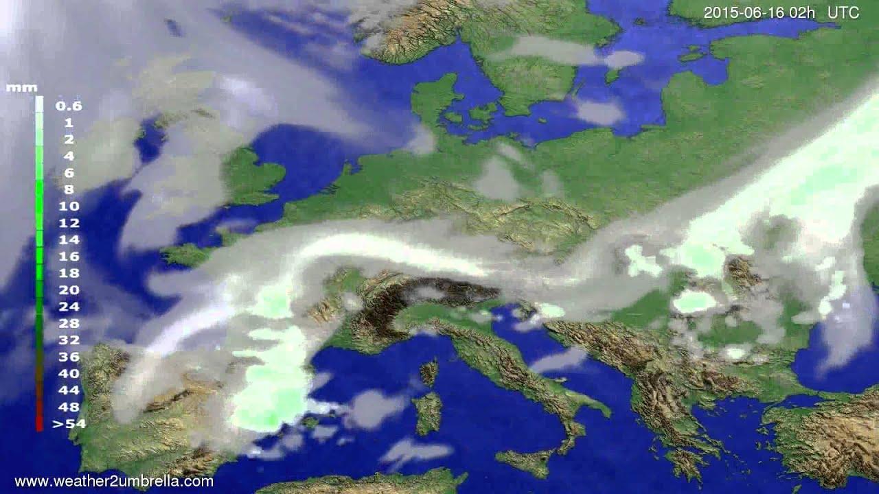 Precipitation forecast Europe 2015-06-12