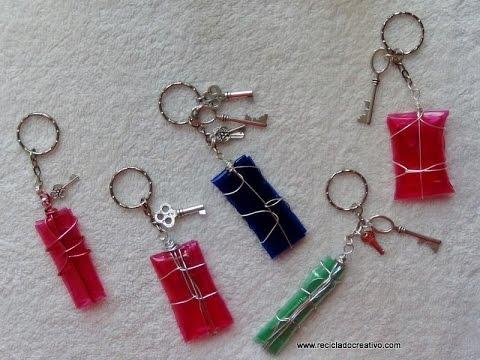 Paso a paso de cómo hacer un llavero con plastico de botellas pet -Keychain out of plastic bottles