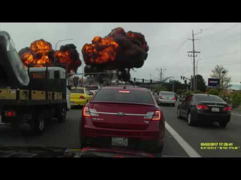 Dash Cam Footage Captures Plane Crash