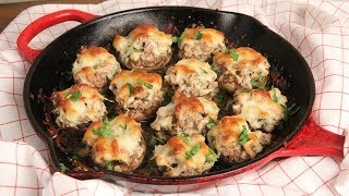 Super Creamy Stuffed Mushrooms (Low Carb) Episode 1240 by Laura in the Kitchen