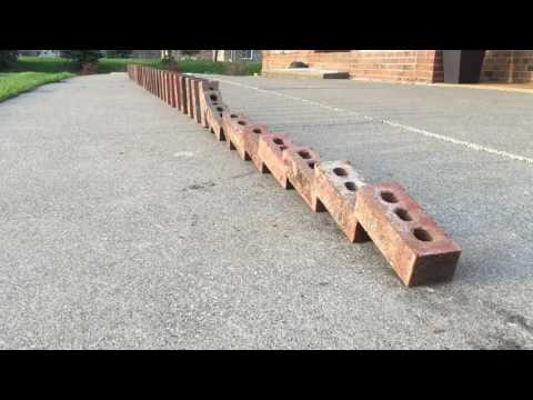 The Double Domino Effect demonstrated with bricks