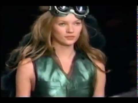 catwalk - The one and only Kate Moss saunters down the catwalk. Footage circa 1994/1995. Designers include Gianni Versace, Anna Sui, Karl Lagerfeld and a few others.