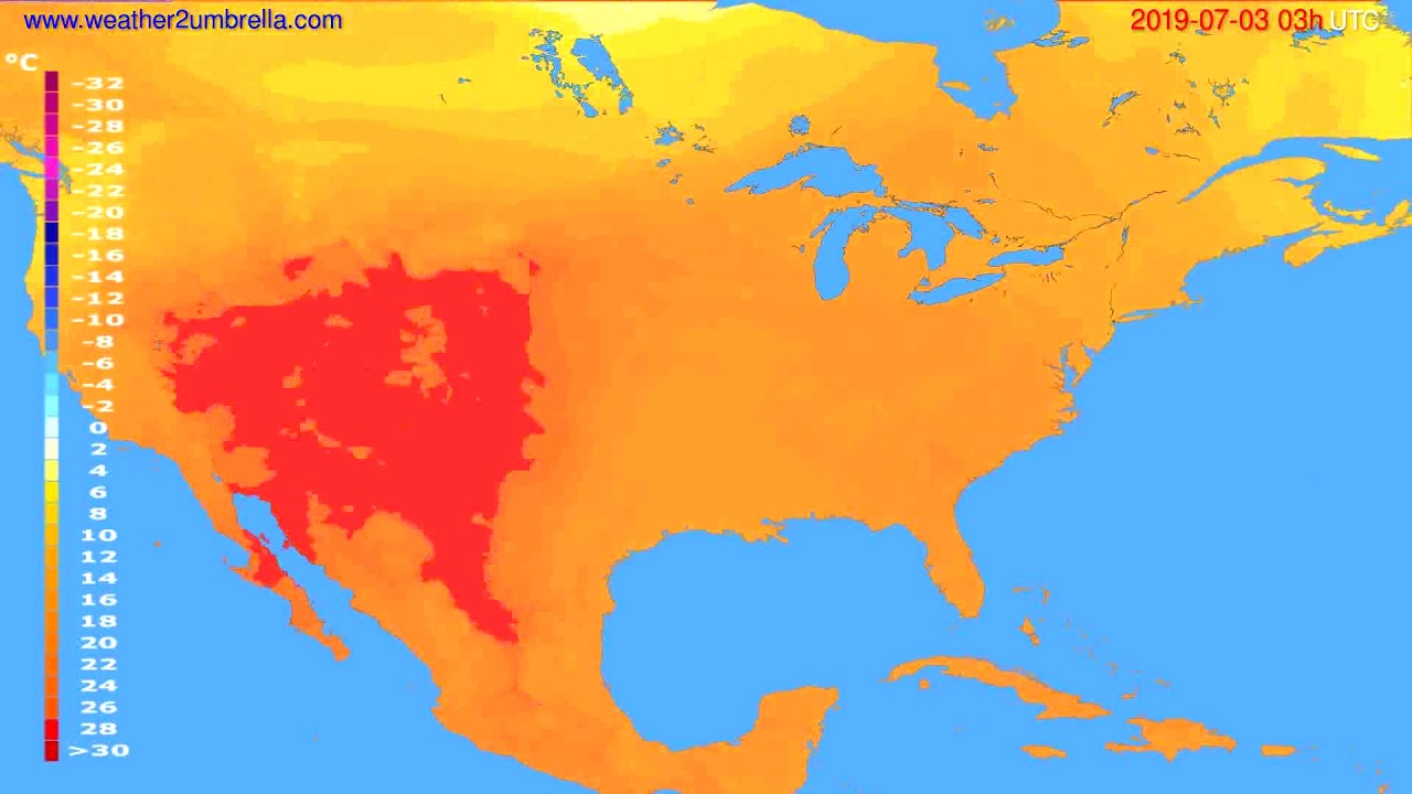 Temperature forecast USA & Canada // modelrun: 00h UTC 2019-06-30