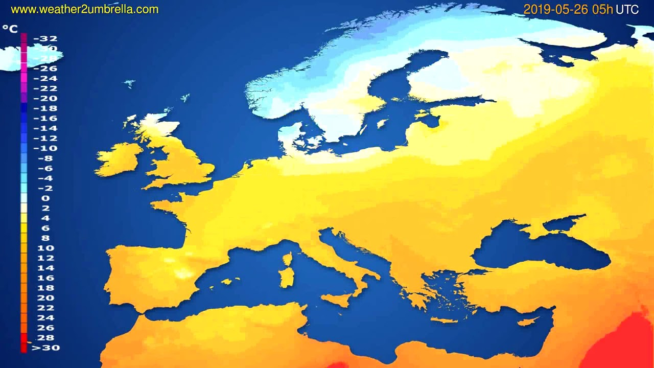 Temperature forecast Europe // modelrun: 00h UTC 2019-05-24