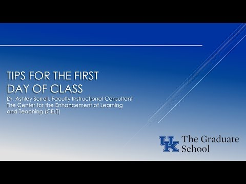 Tips for TAs: The First Day of Class - Dr. Ashley Sorrell
