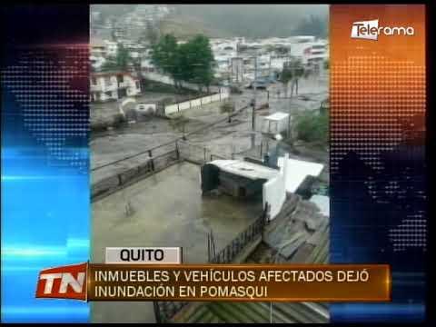 Inmuebles y vehículos afectados dejó inundación en Pomasqui