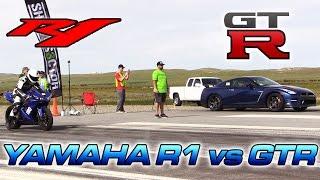 3. Yamaha R1 vs Nissan GTR - 1/2 Mile Drag Race!
