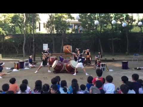 東深沢小学校和太鼓チームこざくら2017めぐみ保育園夏祭り2