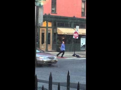 Crazy guy dances on the corner of Hudson and Newark in Hoboken NJ
