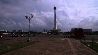 Time Lapse Welcome Monument and National Monument Jakarta
